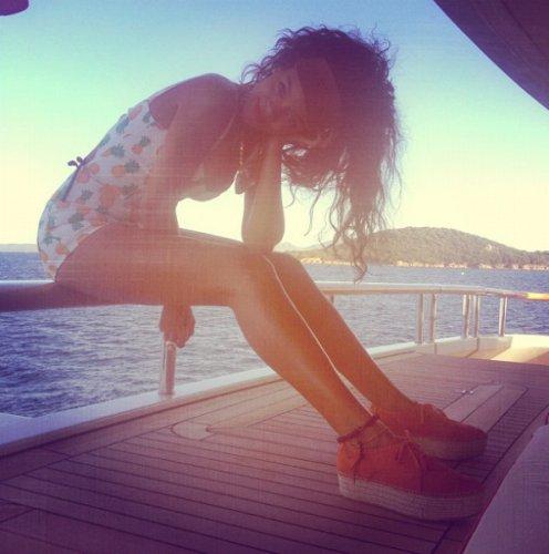 Rihanna Enjoys Vacation On A