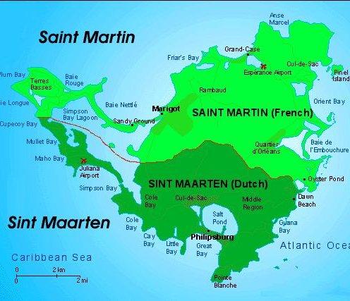 Map of St Maarten / St Martin