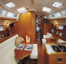Catalina 350 luxury dining and sleeping quarters.