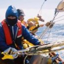Fife 53 cutter-rigged sloop Solway Maid in a Mediterranian violent storm